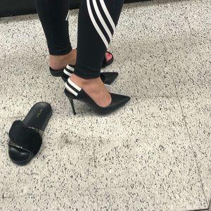 6.5 heels black and white stripes